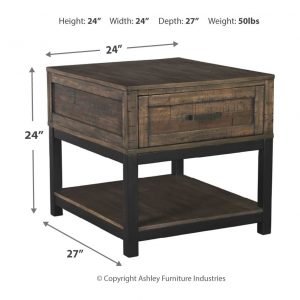 Johurst - Grayish Brown - Rectangular End Table 2