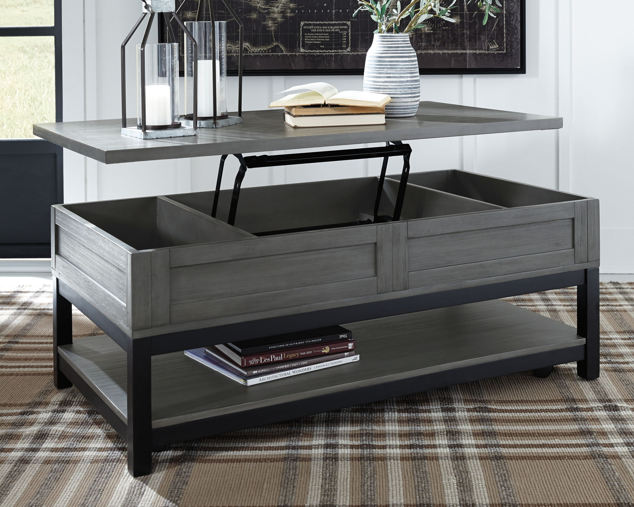 Caitbrook Gray Black Rect Lift Top Cocktail Table Furniture