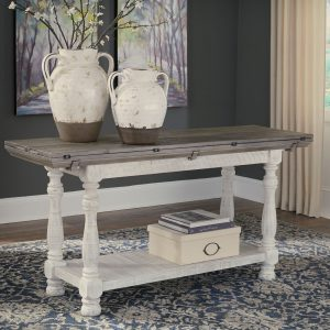 Havalance - Gray/White - Flip Top Sofa Table