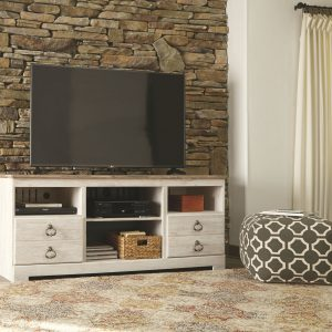 Willowton - Whitewash - LG TV Stand with Fireplace Insert Infrared 1