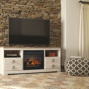 Willowton - Whitewash - LG TV Stand with Fireplace Insert Infrared