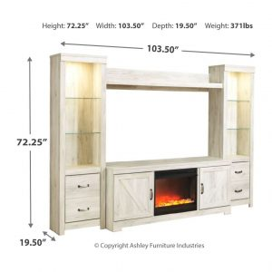 Bellaby - Whitewash - Entertainment Center - LG TV Stand, 2 Piers, Bridge with Fireplace Insert Glass/Stone 1