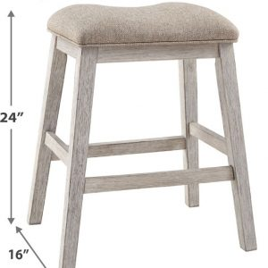 Skempton - White/Light Brown - Upholstered Stool (2/CN) 1