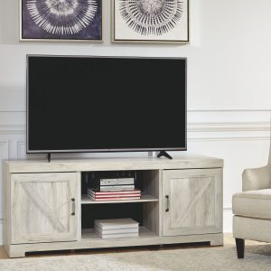 Bellaby - Whitewash - Entertainment Center - LG TV Stand, 2 Piers, Bridge with Fireplace Insert Infrared 1