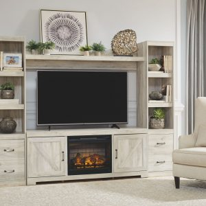 Bellaby - Whitewash - Entertainment Center - LG TV Stand, 2 Piers, Bridge with Fireplace Insert Infrared