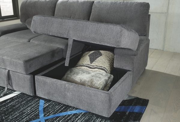 Yantis - Gray - LAF Sleeper Sectional with Storage 2