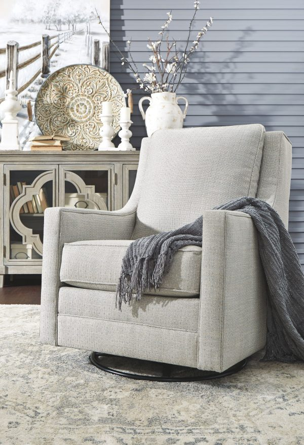 Kambria - Frost - Swivel Glider Accent Chair