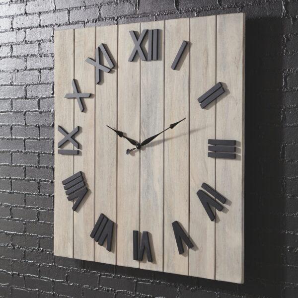 Bronson - Whitewash/Black - Wall Clock