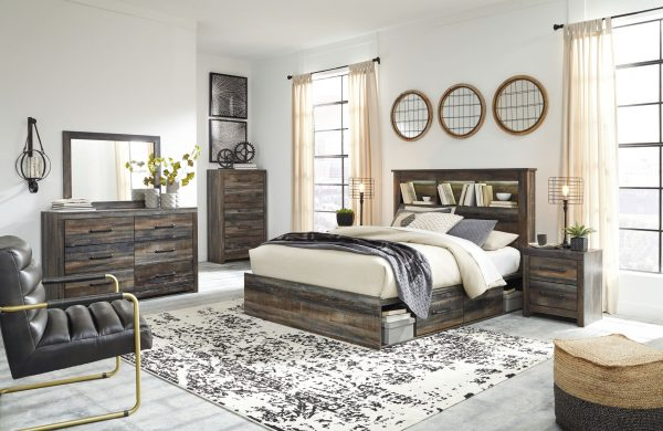 Drystan - Multi - Queen Bookcase Bed with 4 Storage Drawers 1