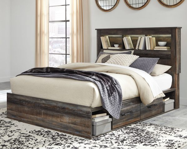 Drystan - Multi - Queen Bookcase Bed with 4 Storage Drawers