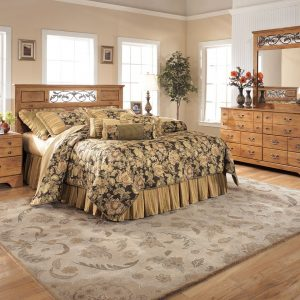 Bittersweet - Light Brown - 3 Pc. - Dresser, Mirror & Queen Panel Headboard with on Bed Fram