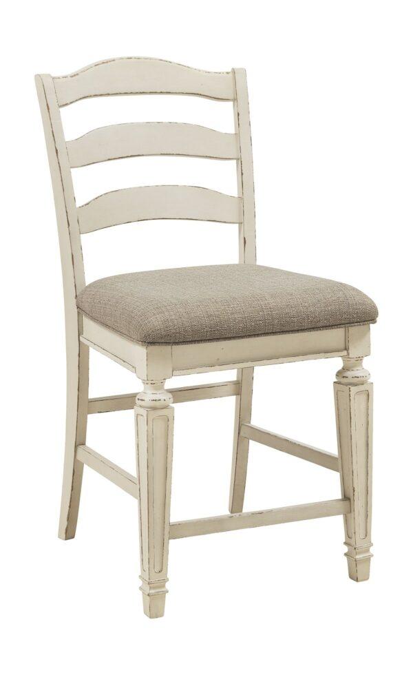 Realyn - Chipped White - Upholstered Barstool (2/CN) 2