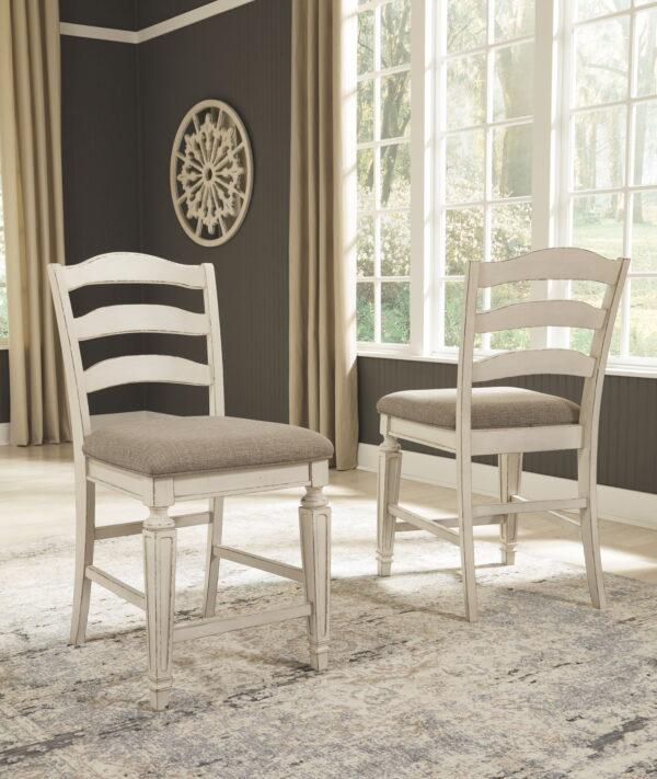 Realyn - Chipped White - Upholstered Barstool (2/CN)