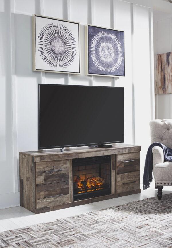 Derekson - Multi Gray - Entertainment Center - LG TV Stand with Fireplace Insert Infrared