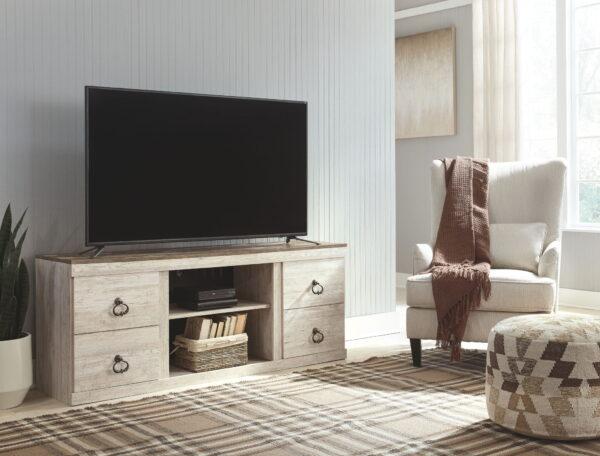 Willowton - Whitewash - LG TV Stand w/Fireplace Option