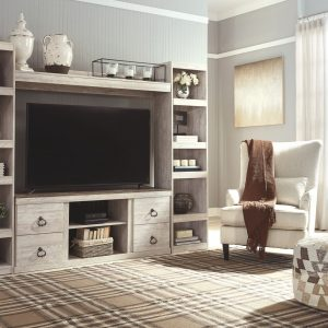 Wynnlow - Gray - Entertainment Center - LG TV Stand, 2 Piers, Bridge with Fireplace Insert Infrared