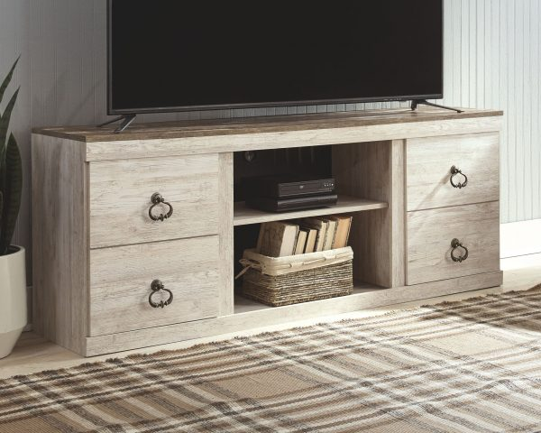 Willowton - Whitewash - Entertainment Center - LG TV Stand, 2 Piers, Bridge with Fireplace Insert Infrared 2