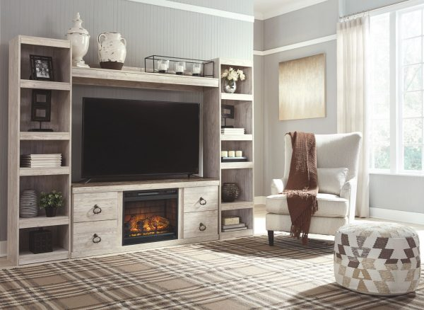 Willowton - Whitewash - Entertainment Center - LG TV Stand, 2 Piers, Bridge with Fireplace Insert Infrared