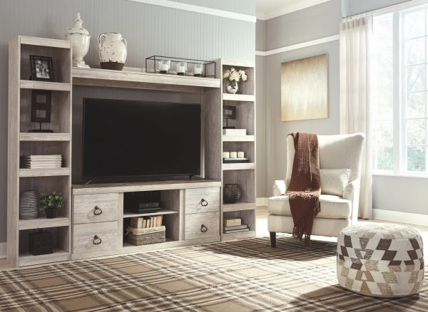 Willowton - Whitewash - LG TV Stand w/Fireplace Option 2
