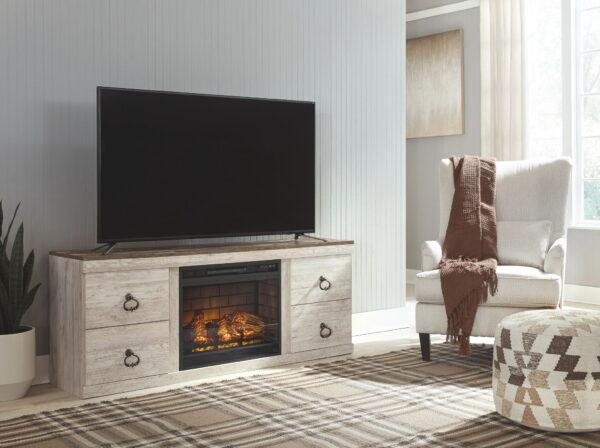 Willowton - Whitewash - LG TV Stand w/Fireplace Option 3