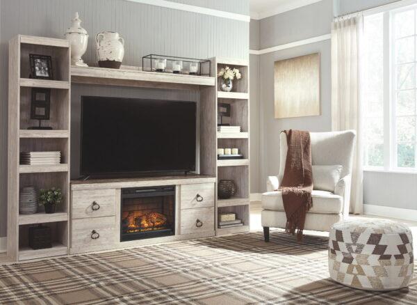 Willowton - Whitewash - LG TV Stand w/Fireplace Option 4