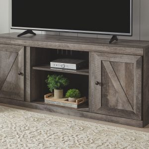 Wynnlow - Gray - Entertainment Center - LG TV Stand, 2 Piers & Bridge 1
