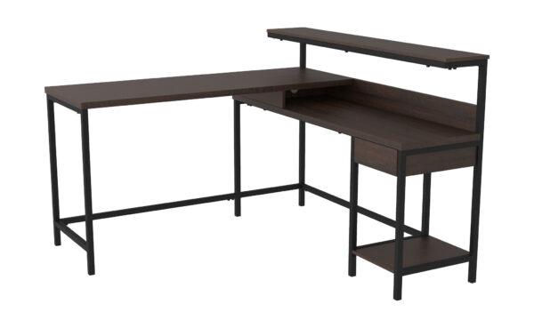 Camiburg - Warm Brown - L-Desk with Storage, Bookcase & Swivel Desk Chair 2