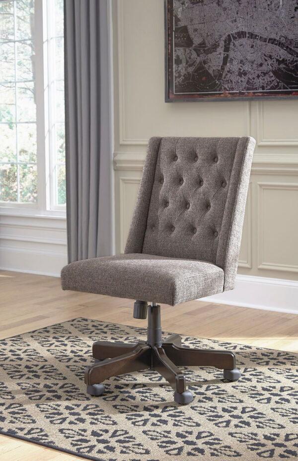 Camiburg - Warm Brown - L-Desk with Storage, Bookcase & Swivel Desk Chair 5
