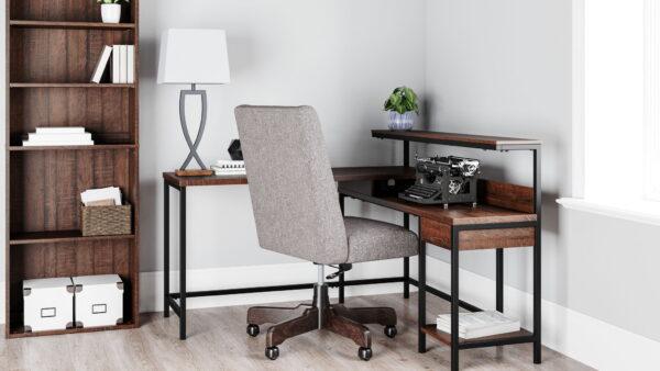 Camiburg - Warm Brown - L-Desk with Storage, Bookcase & Swivel Desk Chair Brown - L-Desk with Storage, Bookcase & Swivel Desk Chair