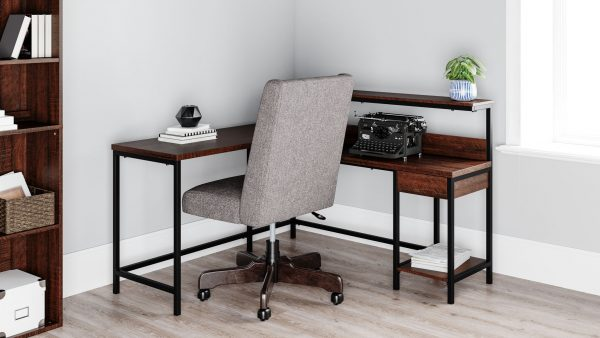 Camiburg - Warm Brown - L-Desk with Storage & Swivel Desk Chair