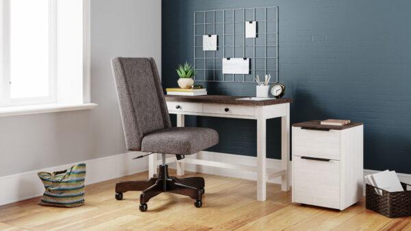 Dorrinson - Two-tone - Desk, File Cabinet & Swivel Desk Chair