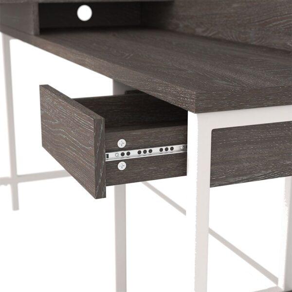 Dorrinson - Two-tone - L-Desk with Storage & Swivel Desk Chair 1