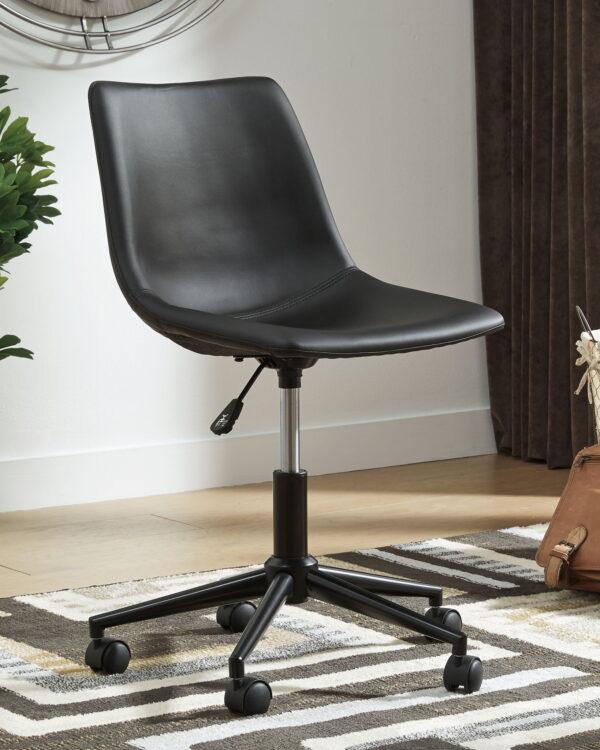 Dorrinson - Two-tone - L-Desk with Storage & Swivel Desk Chair 3