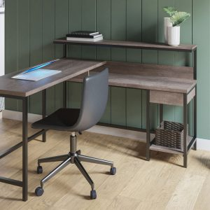 Dorrinson - Two-tone - L-Desk with Storage & Swivel Desk Chair