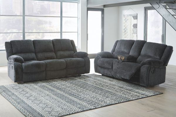 Draycoll - Slate - REC Sofa & DBL REC Loveseat with Console