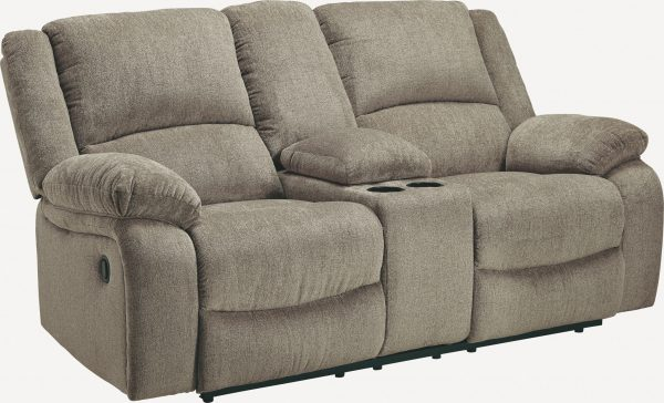Draycoll - Pewter - DBL Rec Loveseat w/Console