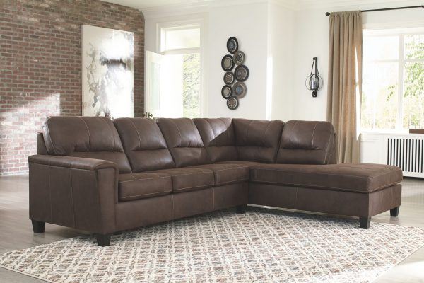 Navi - Chestnut - 2-Piece Sectional with Chaise