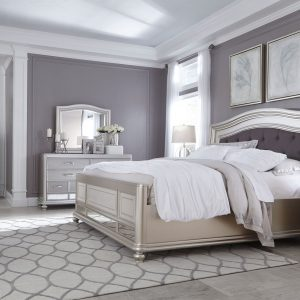 Coralayne - Silver - 7 Pc. - Dresser, Mirror, King Panel Bed & 2 Nightstands