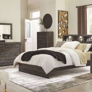Vay Bay - Charcoal - King Bookcase Panel Bed 1