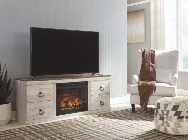 Willowton - Whitewash - Entertainment Center - LG TV Stand with Fireplace Insert Infrared