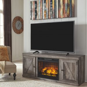 Wynnlow - Gray - LG TV Stand with Fireplace Insert Infrared