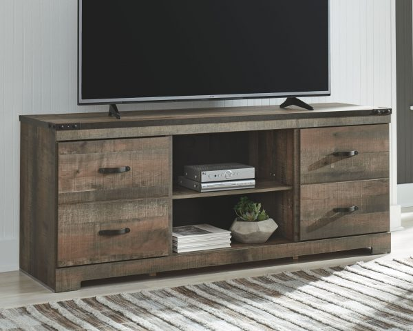 Trinell - Brown - Entertainment Center - LG TV Stand, 2 Piers, Bridge with Fireplace Insert Infrared 1
