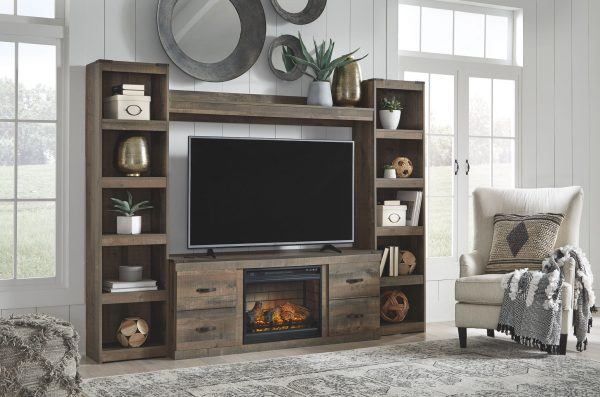 Trinell - Brown - Entertainment Center - LG TV Stand, 2 Piers, Bridge with Fireplace Insert Infrared