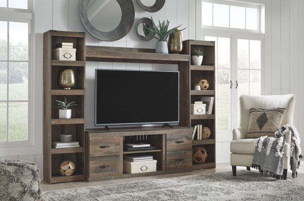 Trinell - Brown - Entertainment Center - LG TV Stand, 2 Piers & Bridge